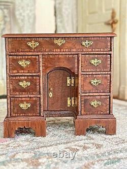 RARE Vintage Miniature Dollhouse John Hodgson UK IGMA Artisan Kneehole Desk 1987