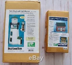 Real Good Toys New England Lighthouse and Keepers House Wooden Dollhouse Kits