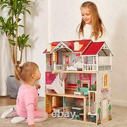 TOP BRIGHT Wooden Dolls House for Girls, Large Dollhouse Toy for Kids