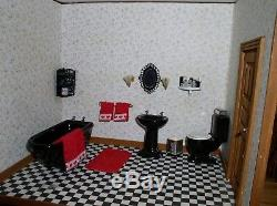 Vintage Beautiful Victorian Wooden Dollhouse Assembled 8 Rooms Fully Furnished