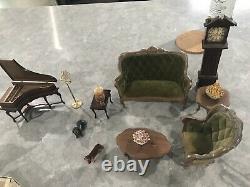 Vintage Dollhouse Furniture For Bedroom, Kitchen, and Living Room