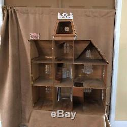 Vintage Handmade Dollhouse 39 Victorian style mansion wood doll house green
