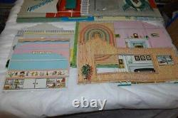 Vintage Tin Metal MARX Dollhouse 2 Story Colonial Mansion Box Inst VGUC Complete