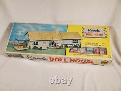 Vtg 1950s MARX Tin Doll House Mid Century Modern Ranch Suburban 4737 NOS NIB