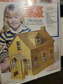 Vtg 1978 Arrow Handicraft 4 Room Wood Dream Doll House Complete Factory Sealed