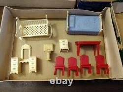 Vtg 3 Boxes Strombecker Doll House Furniture Bedroom Dinning Room Kitchen LOT