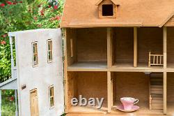Wood DOLLHOUSE with Houseworks windows & shingles in Scale 124 + window & door