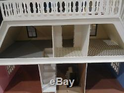 Wooden 4 Story Dollhouse 9 rooms Brick Rooftop balcony Painted Assembled Kit