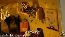 Wooden Dollhouse Miniatures DIY wind House Kit w Light windmill Cafe Coffee Shop