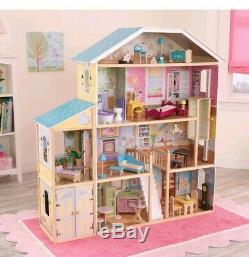 Wooden Majestic Mansion Dollhouse 34 Accessories 4 Levels 8 Rooms Kids Play Gift